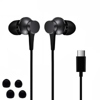 Вакуумные наушники (гарнитура) Xiaomi Earphones USB Type-C Piston 3 Black (черные)